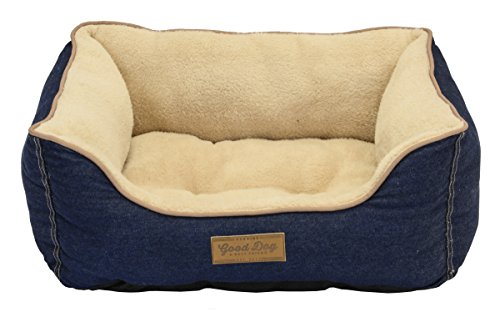 Dallas Manufacturing Co. Dog Bed with Bolstered Sides by Good Dog & Best Friend | Machine Washable Bed in Denim with Non Skid Bottom by Dallas Manufacturing Co.