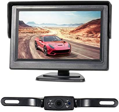 Wired Backup Camera System Kit 5 inch Monitor HD LCD Reversing Monitor for Car RV Truck Pickup Van Camper Accfly IP68 Waterproof Rear View Night Vision Rear View Camera