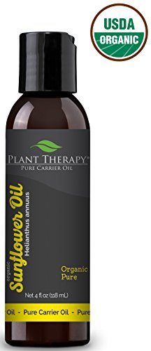 Plant Therapy Organic Sunflower Carrier Oil. A Base Oil for Aromatherapy, Essential Oil or Massage use. 4 oz.