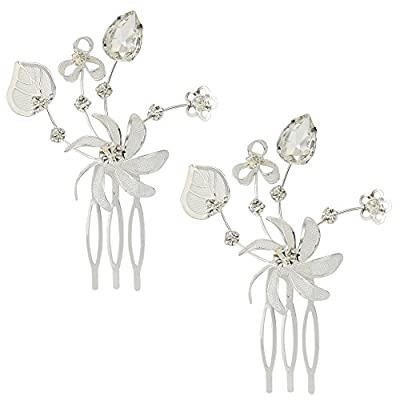 JoinMe Women's Bohemian Wedding Bridal Crystal Flower Romantic Rhinestone Hair Comb Pin Set of 2 Pcs
