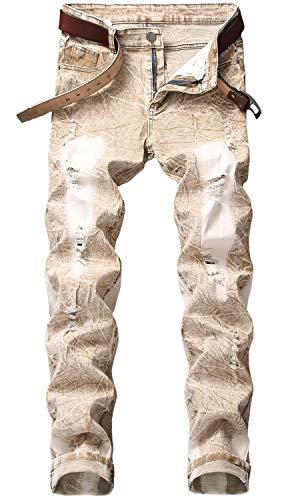 Men's Distressed Ripped Holes Slim Stretchy Vintage Jeans Denim Pants, 860 Khaki, 36