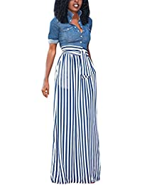 Women's Full Length Elastic Waisted Maxi Skirt Vertical Striped Long Skirts with Pocket