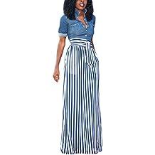 HOTAPEI Women's Full Length Elastic Waisted Maxi Skirt Vertical Striped Long Skirts With Pocket