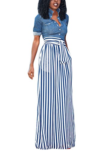 HOTAPEI Summer High Waisted Striped Long Skirts For Women Light Blue Small