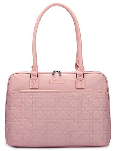 CoolBell 15.6 Inch Laptop Tote Bag Women Handbag Nylon Briefcase Classic Shoulder Bag For Laptop / Ultra-book / Macbook / Tablet / (Rose Gold)