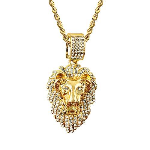 (HH Bling Empire Mens Hip Hop Bling Iced Out 14K Gold Artificial Diamond Lion Head Pendant cz Tennis Chain Necklace 22 Inch (Lion B &)