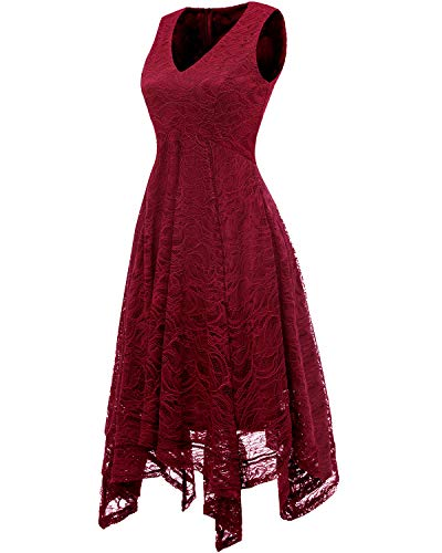 Red Brautjungfernkleider unregelmäßig Damen Spitzenkleid Dark Cocktail bridesmay Elegant Xw0RnP
