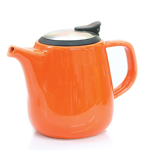 Tealyra Daze Ceramic Teapot with Stainless Steel Lid and Infuser, 700ml / 24 oz - Orange