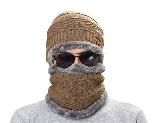 caliente invierno Eleter de suave Ligero de Gorra pañuelo sombrero punto con Hombre gorrita Café YTwT4