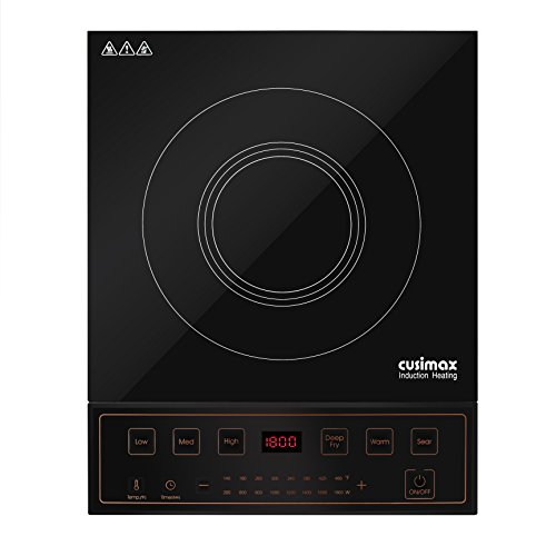 Cusimax 1800W Induction Cooktop - 8.7 '' Countertop Burner with 6 Cooking Programs - CMIC-S1800 - Black