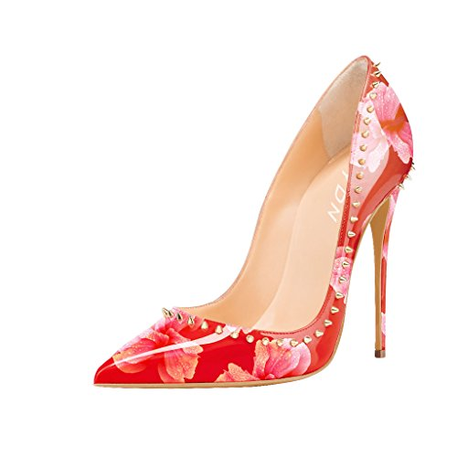 YDN Women Pointed Toe Closed High Heels Prom Shoes Patent Leather Stiletto Slip On Size 4 Red floral