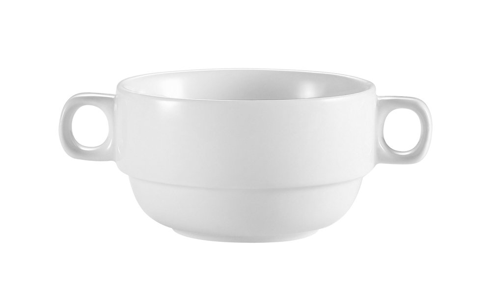 CAC China RCN-49 Clinton Rolled Edge 6-Inch by 4-Inch by 2 3/8-Inch 10-Ounce Super White Porcelain Bouillon with Handles, Box of 24