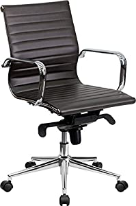 Flash Furniture Mid-Back Black Ribbed Upholstered Leather Conference Chair