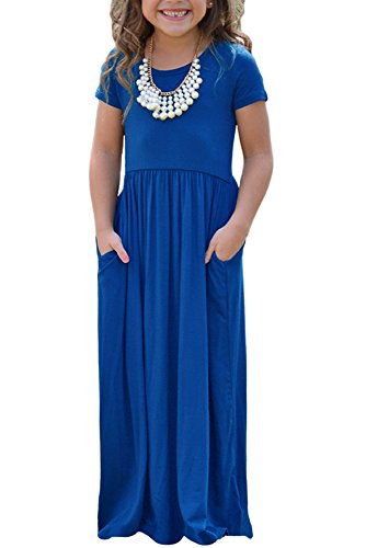AlvaQ Girls Cap Summer Soft Short Sleeve Cinched Long Maxi Dress Casual Size 7-8 (Blue Soft Dress)