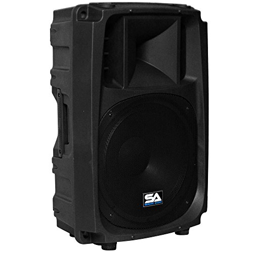 Seismic Audio L_Wave-15 Powered 2-Way 15-Inch PA/DJ Molded Speaker Cabinet Active 600-Watt Loudspeaker ()