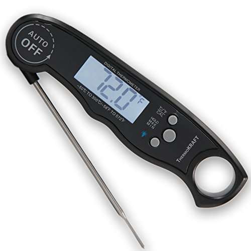 ThermoKRAFT PRO [2017 NEWEST MODEL] - Digital Instant Read Food Cooking Thermometer Probe for Kitchen, BBQ, Grilled Meat, Baby-Formula | Includes Integrated Magnet + Internal Temperature Guide (Black)