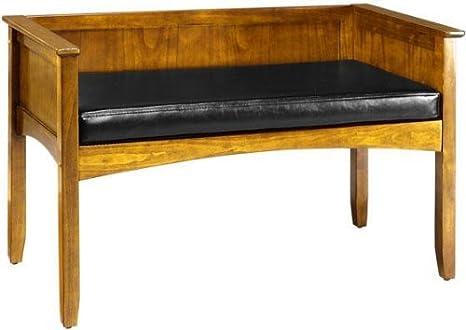 Super Amazon Com Hawthorne Window Seat Black Leather Oak Short Links Chair Design For Home Short Linksinfo