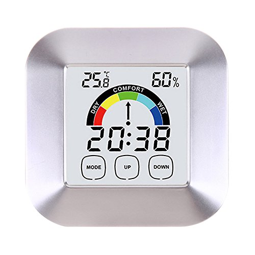 Color Electronic Clock Thermometer, Round Home Digital Hygrometer Indoor Outdoor Home Kitchen Humidity Meter Instant Read for People Adults Power Supply by 2pc1.5 V AAA Batteries (Silver)