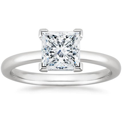 Princess Engagement Certified Ring Diamond - 14K White Gold Solitaire Diamond Engagement Ring Princess Cut (H Color VS1 Clarity 0.52 ctw) - Size 6.5