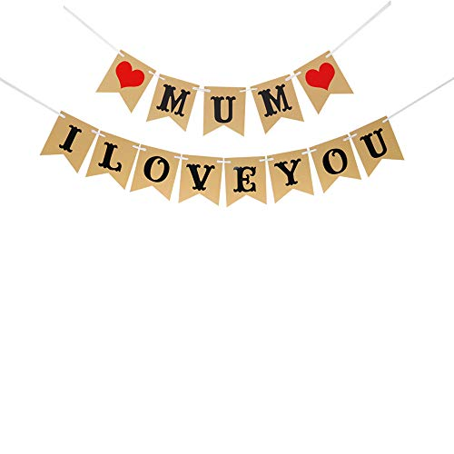 I Love You Mum with 2 Hearts Mother's Day Banner Mother's Birthday Party Decoration|Gift for Mother|Family Party Banner