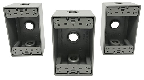 Sealproof 1-Gang 3 1/2-Inch Holes Weatherproof Rectangular Exterior Electrical Outlet Box with 3 Outlet Holes, Three 1/2 Holes, Single Gang, UL Listed, 3-Pack