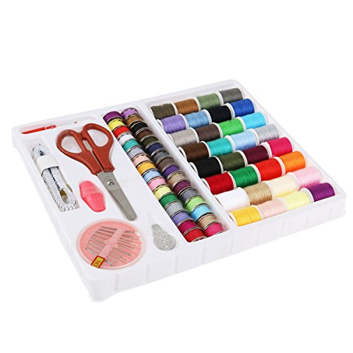 Simply Silver - Sewing Kit - 100PC Sewing Kit Thread Threader Needle Tape Storage Box Measure Scissor Thimble