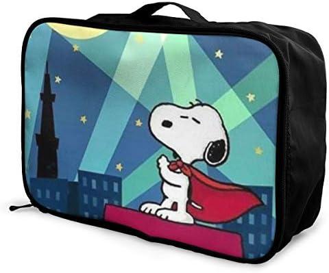 ボストンバッグ スヌーピー キャリーオンバッグ トラベルバッグ 大容量 厚手 丈夫 荷物 折りたたみ スーツケース固定可 旅行 出張 男女兼用 かわいい おしゃれ
