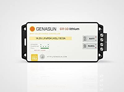 Genasun GV-10-Li-14.2V, 10 Amp 12 Volt MPPT Solar Charge Controller for Lithium Batteries