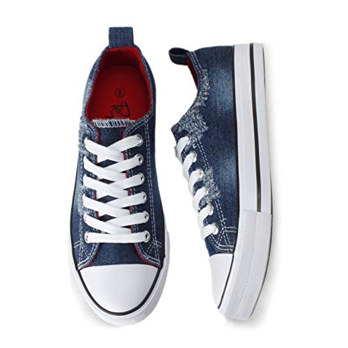 PepStep Canvas Sneakers for Women/Light Blue/Navy/Black Casual Shoes Low Top Lace up Fashion Sneakers (8, Dark Blue)