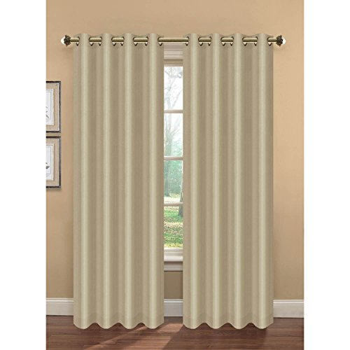 Bella Luna Camilla Faux Silk Room Darkening Extra Wide 108 x 84 in. Grommet Curtain Panel Pair, Taupe