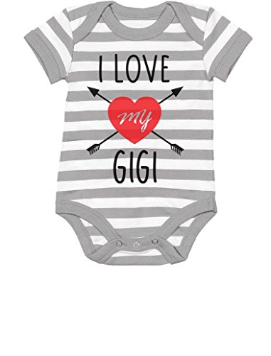 I Love My Grandma Onesies (Tstars TeeStars - I Love My Gigi Valentine's Day Gift For Baby & Grandma Baby Bodysuit 6M Gray/White)