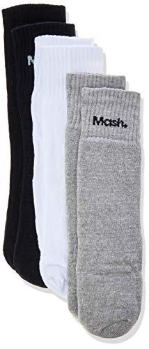 Mash Kit 3 Pares de Meia, Masculino, Multicor (Preto/Mescla/Branco), 34-38
