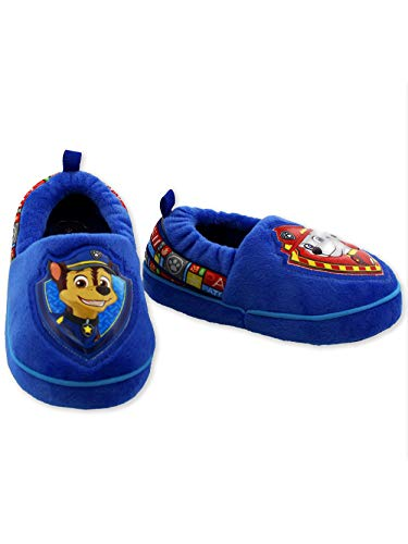 Paw Patrol Chase Marshall Toddler Boys Plush Aline Slippers (11-12 M US Little Kid, Blue/Red)