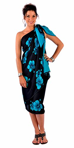 1 World Sarongs Womens PLUS Size FRINGELESS Hibiscus Flower Sarong in Aqua Blue / Black