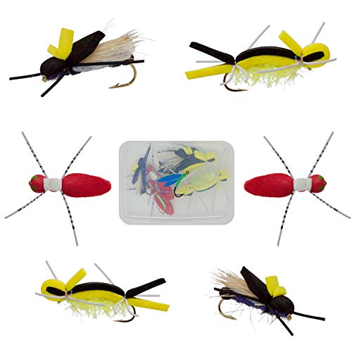 Thor Outdoor Topwater Fly Fishing Set for Bass, Panfish, Trout   6 Pc Kit Includes Foam X-Spiders, Sparkly Ants, Purple-X Attractor Flies Klickbox Pocket Fly Container