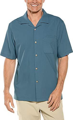 Coolibar UPF 50+ Men's Safari Camp Shirt - Sun Protective (XX-Large- Placid Blue)