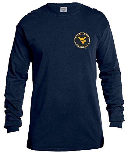 NCAA West Virginia Mountaineers Rounds Long Sleeve Comfort Color Tee, Medium,TrueNavy