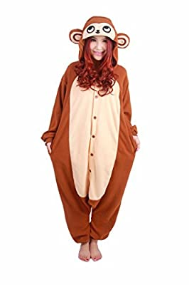 WOTOGOLD Animal Cosplay Costume Unisex Adult Brown Monkey Pajamas