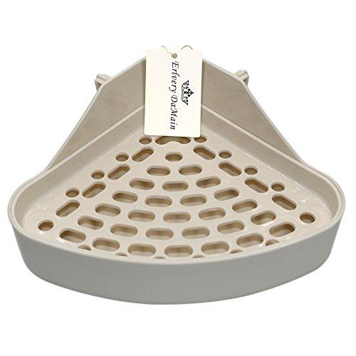 Erlvery DaMain Triangle Potty Trainer Corner Litter Bedding Box Pet Pan for Small Animal/Rabbit/Guinea Pig/galesaur/Hamster/Ferret (White)