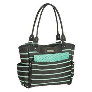 Carter's JOY Zip Down Front Fashion Tote Diaper Bag - Grey/Mint Green Stripe
