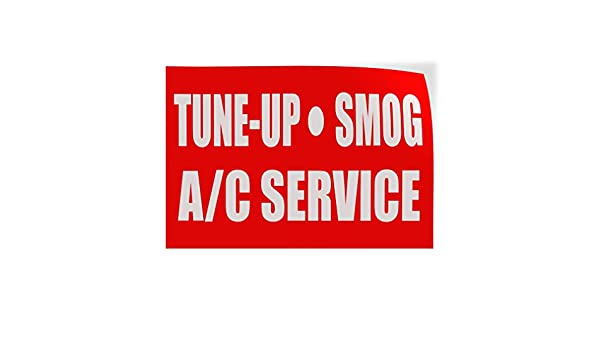 Set of 10 14inx10in Decal Sticker Multiple Sizes Tune-Up Smog A//C Service Automotive Tune up Outdoor Store Sign Red