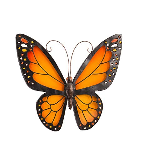 Wind & Weather Metal and Plexiglass Butterfly Wall Art - Approx. 13 sq. Orange