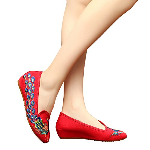 Hecater Filles Style Chinois Paon Broderie Chaussures Pointu Robe De Bal Sandales Compensées Rouge