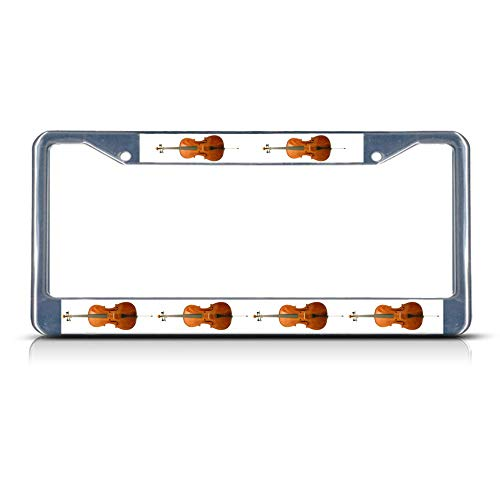 Custom Auto Frames Cello Musical Instrument License Plate Frame, Aluminum Metal License Tag Frame, 2 Holes Car License Plate Cover Holder for US - Butterfly Cello