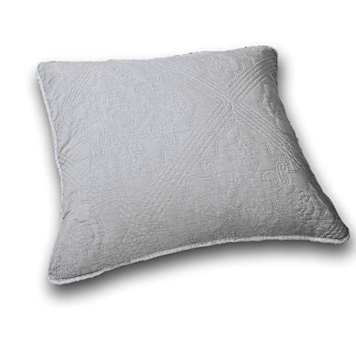 DaDa Bedding Elegant Euro Pillow Sham - Floral Grey Stone Washed Diamond Pattern Quilted - Soft Grey 26