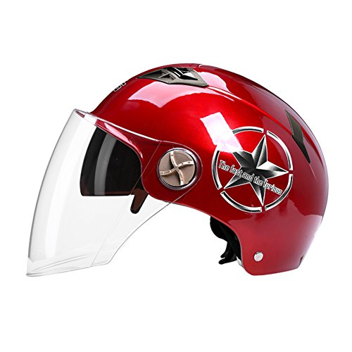 Motorcycles Helmet Men Women Spring Summer Sun Protection Lightweight Electric car Transparent goggles (Color : Red) by Moolo