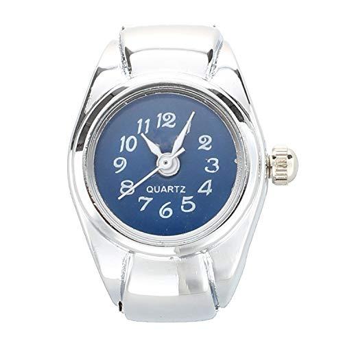 Clock Digit Dial Arabic Round Blue Deco Unisex Jewelry Quartz Ring Watch Ring