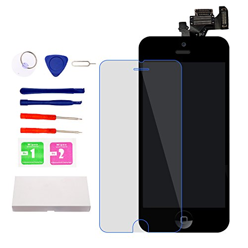 For iPhone 5 Screen Replacement With Home Button, Black- MAFIX Full Pre-assembly LCD Display Digitizer Touch Screen Kit Include Repair Tools & Screen Protector by MAFIX (Image #5)