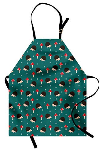 Ambesonne Hedgehog Apron, Forest Life Inspired Pattern with Amanita Mushrooms Rodent Animals Woodland Themed, Unisex Kitchen Bib Apron with Adjustable Neck for Cooking Baking Gardening, Multicolor -