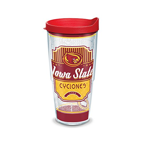 (Tervis 1230312 Iowa State Cyclones Pregame Prep Tumbler with Wrap and Red Lid 24oz,)